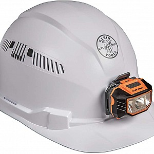 Hard Hat, Vented, Cap Style with Headlamp