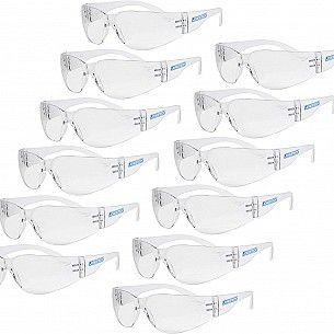 Eyewear Protective Safety Glasses, Polycarbonate Impact Resistant Lens Pack of 12 (Clear)